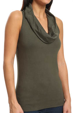 Three Dots Cotton Sleeveless Cowl Neck Top