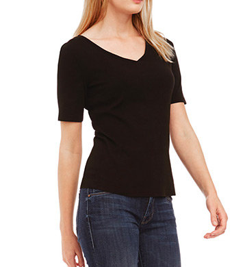 Three Dots Cotton Knit Elbow Sleeve V-Neck Tee