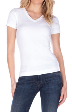 Three Dots 1x1 Short Sleeve Mid-V-Neck Tee