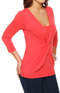 Three Dots Cotton Modal Twist Front 3/4 Sleeve Tee