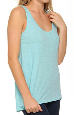 Three Dots Slub Jersey Relaxed High Low Tank