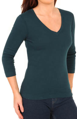 Three Dots 1x1 Deep V-Neck 3/4 Sleeve Tee