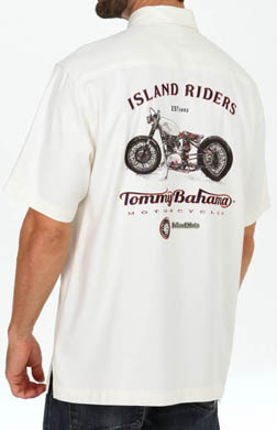 Tommy Bahama Island Moto Embroidered Silk Camp Shirt