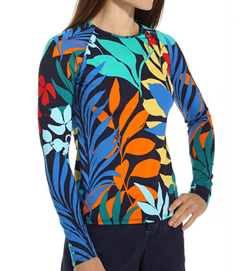 Tommy Bahama Tropical Leaf Long Sleeve Rash Guard
