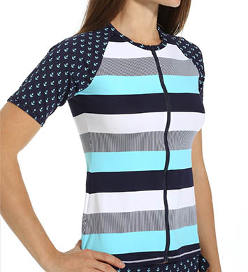 Tommy Bahama Bold Stripe & Mini Anchor Short Sleeve Rash Guard