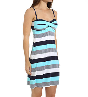 Tommy Bahama Bold Stripe & Mini Anchor Twist Front Spa Dress