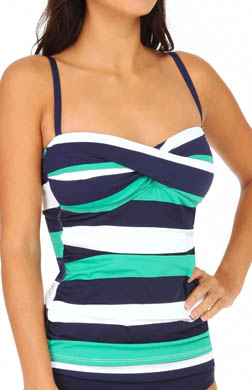 Tommy Bahama Mare Rugby Stripe Twist Front Tankini Swim Top