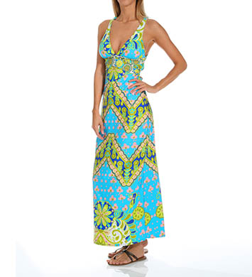Trina Turk Woodblock Floral Long Cover-Up Dress