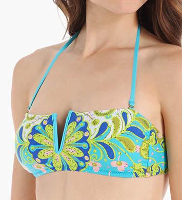 Trina Turk Woodblock Floral Bandeau Swim Top