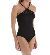 Lauren Ralph Lauren Cocktail Suits Hi Neck Soft Cup One Piece Swimsuit LR6GQ08