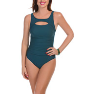 MagicSuit Solid Fiona Peek a Boo Ruched One Piece Swimsuit 367665