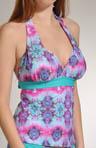 Kaleidoscope Shirred Cup Halter Tankini Swim Top