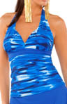 Strobe Shirred Underwire Halter Tankini Swim Top
