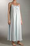 Long Spaghetti Strap Cotton Gown w/Eyelet Trim