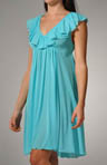 Knee Length Gown with Ruffle V-Neck