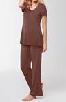 Short Sleeve Satin Trim Pajama Set
