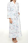 Airbrushed Rose Stencil Waffle Knit Long Robe
