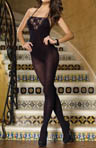 Opaque Halter Bodystocking With Lace Inset