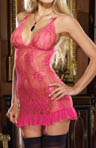 Stretch Lace Babydoll Slip with Garters and Thong