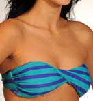 Minnow Stripe Twist Bandeau Swim Top