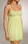 Striped Mesh Nightie with Lace and Ruffle