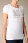Vintage Crest Short Sleeve Tee Shirt With Crystals