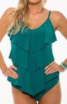 Solid Jersey Rita All Over Tiered Tankini Swim Top