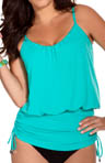 Solid Jersey Shelly Ruched Tie Tankini Swim Top