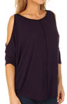 Jersey Lycra Elbow Sleeve Cold Shoulder Circle Top