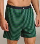 Green Field Stripe Knit Boxer