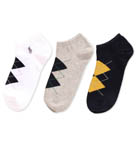 Argyle Combed Cotton No Show Socks - 3 Pack
