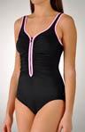 Zig Zag Zip-Front Contrast Trim One Piece Swimsuit