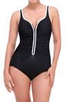 Diamond Dots Zip Front One Piece Swimsuit