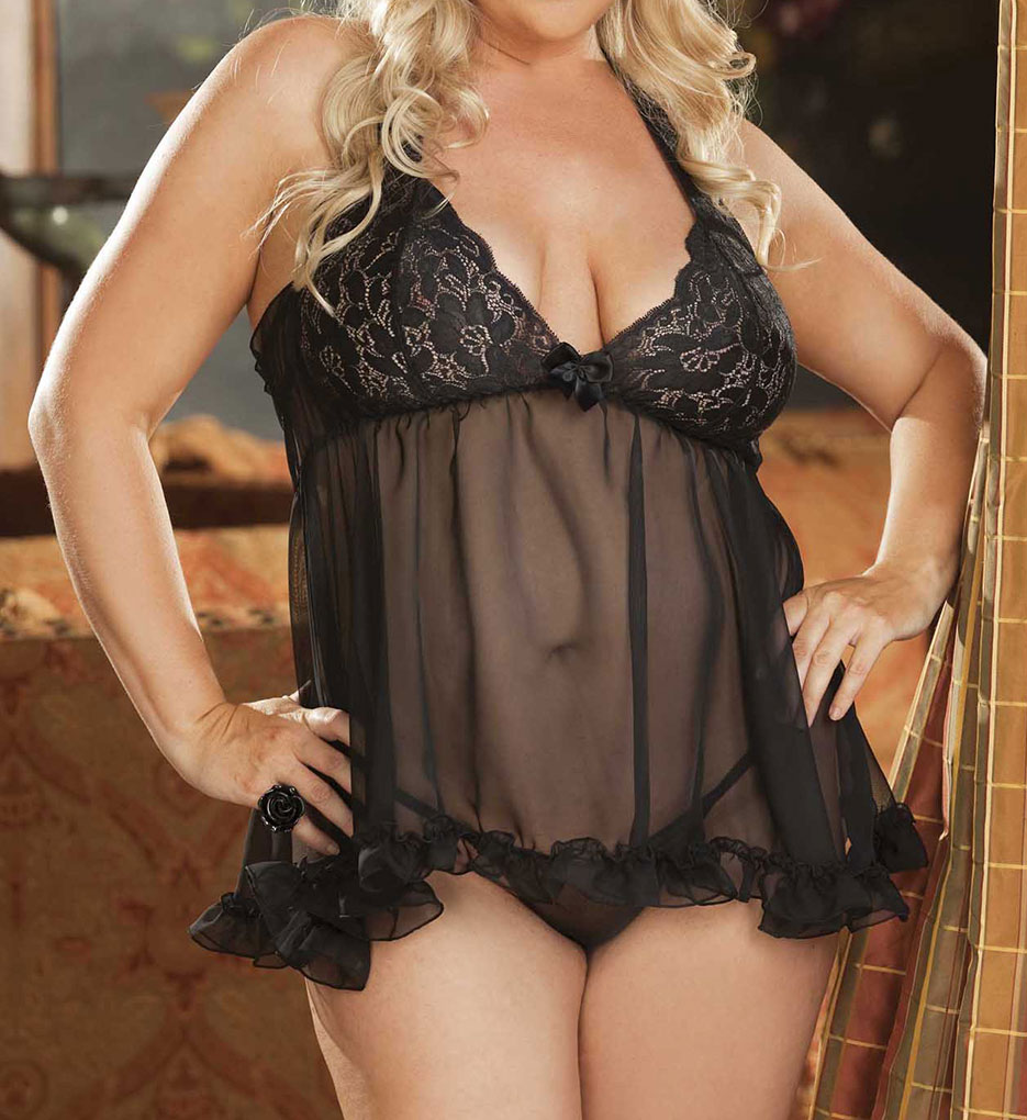 Shirley of Hollywood X20477 Plus Size Stretch Lace & Chiffon Halter Baby Doll
