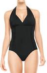 Streamlined Silhouette Halter One Piece Swimwear