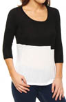 Drapey Lux Jersey Two Tone 3/4 Sleeve Tee