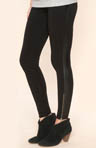 Novelty Leggings with Faux Leather Trim
