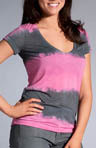 Tie Dye Stripe V-Neck Cap Sleeve Top