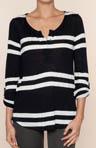 Soho Stripe Roll Sleeve Henley Tee