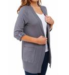 1X1 Fold Collar Long Cardigan