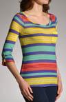 Beach Towel Stripe 3/4 Sleeve Top