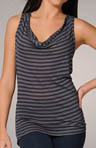 Navy Triblend Stripe Sleeveless Racerback Tank