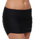Black Shirred Swim Skirt
