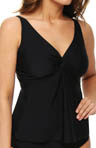 Black Underwire Twist Tankini Swim Top