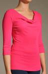 3/4 Sleeve Cowl Neck Cotton Modal Top