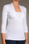 Empire Waist Cotton Knit Top with 3/4 Sleeve