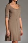 Cotton 1/2 Slv Scoop Neck Henley Dress