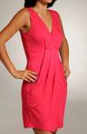 Viscose Lycra V-neck Pleated Front Dress