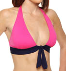 Deck Piping Halter Cup Shirred Band Swim Top