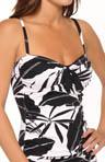 Palm Layered Over The Shoulder Tankini Swim Top